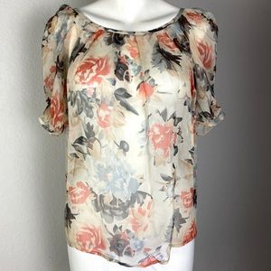 Joie Silk Floral Sheer Top Size Small